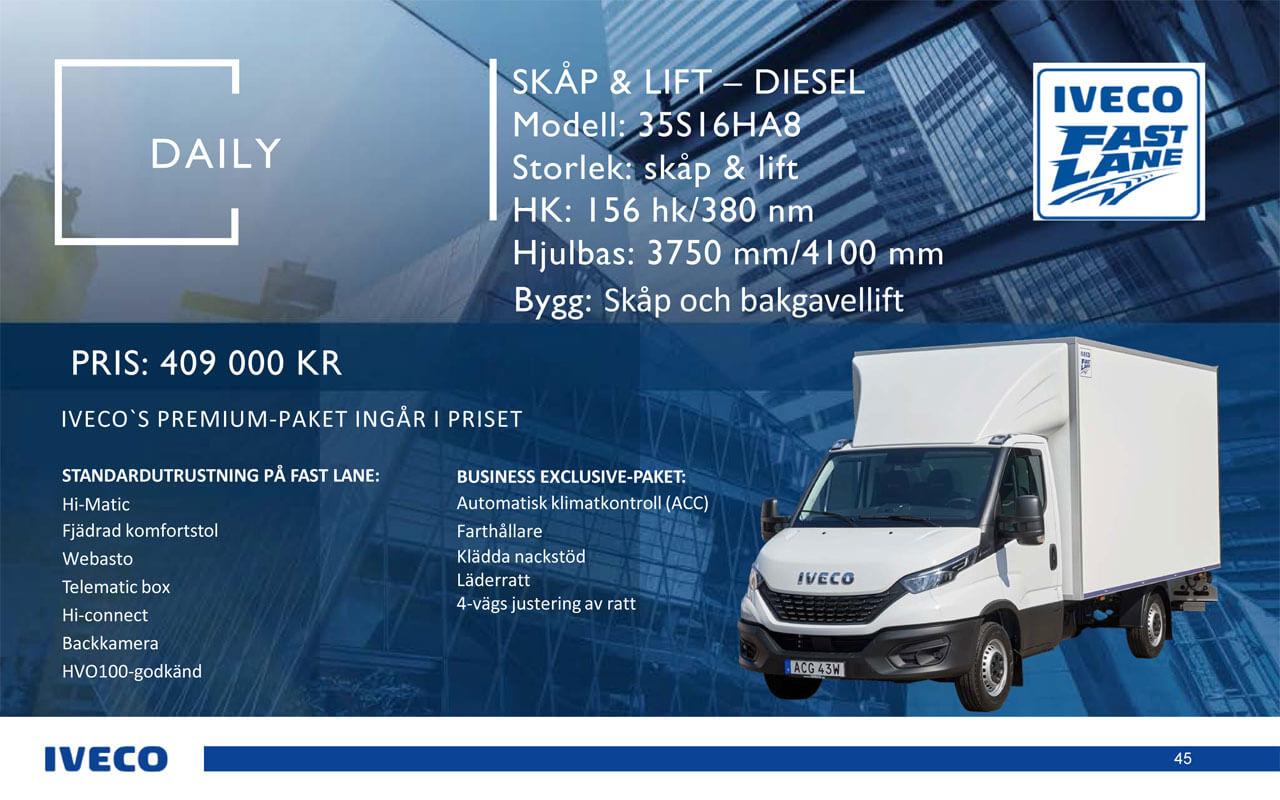 Iveco Daily Skåp och lift 35s16ha8 - kampanj