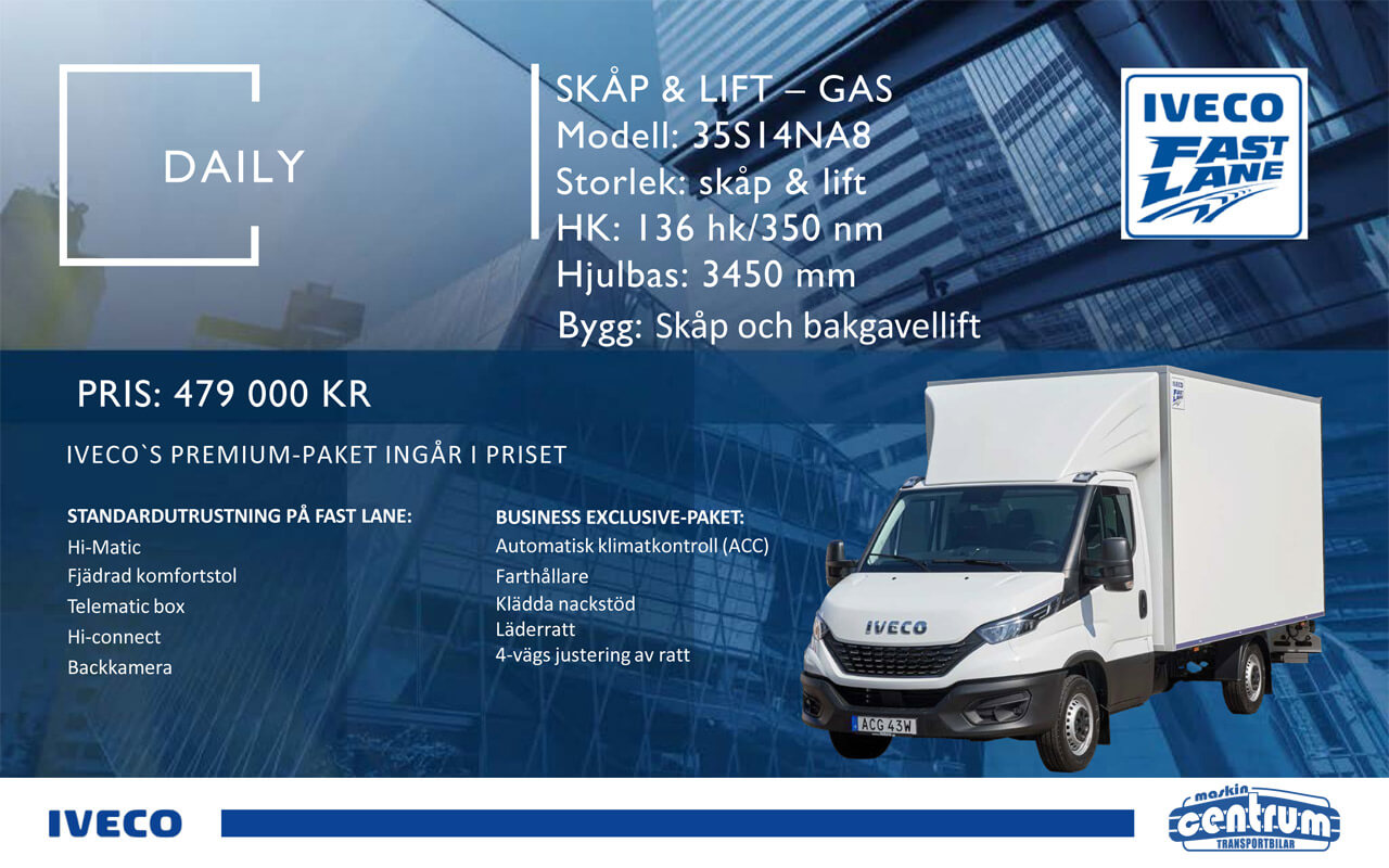 Iveco Daily Skåp lift gas - kampanj